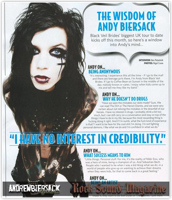 art. 13 ~ UNE NOUVELLE INTERVIEW D'ANDY Dans le Rock Sound Magazine du mois de mars.
