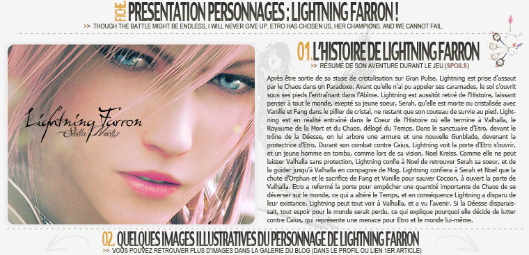 Fiche Personnage : Lightning