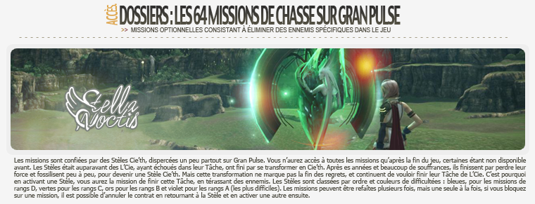 Dossier : Les Missions de Chasse FFXIII