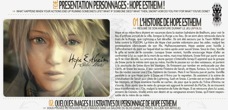 Fiche personnage : Hope FFXIII
