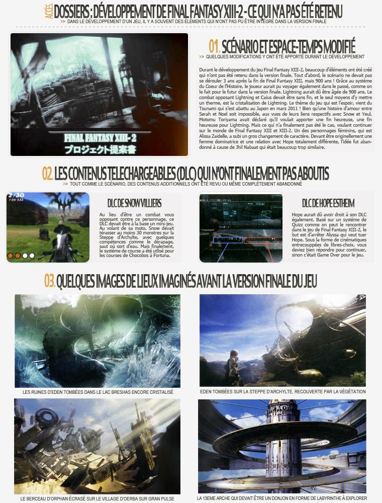 Dossier : Développement de FFXIII-2 - Ce qui n'a pas été retenu