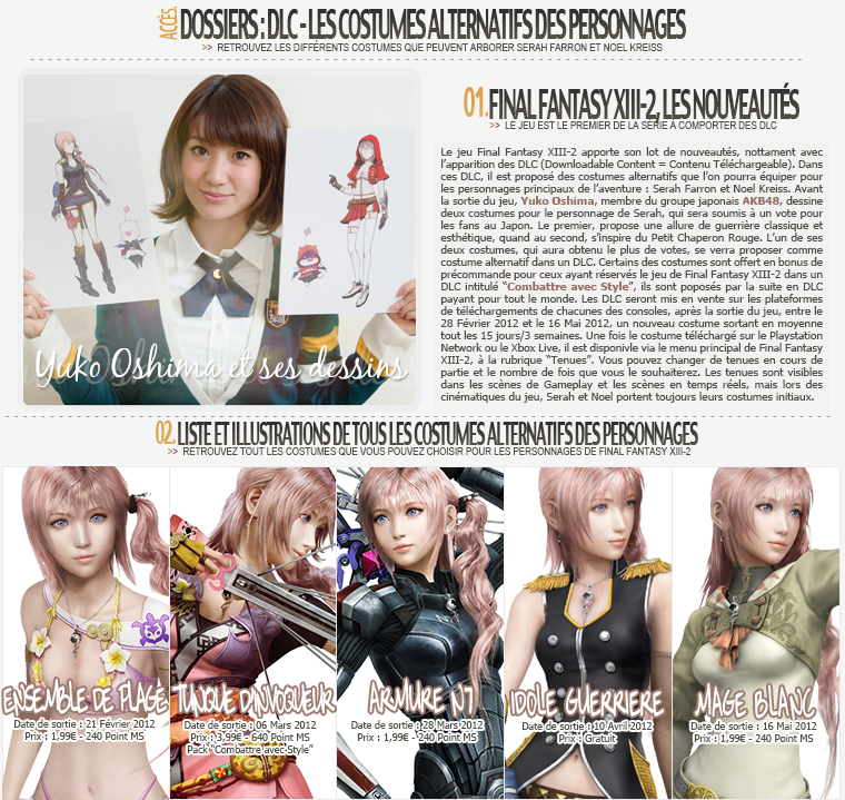 Dossier Final Fantasy XIII-2 : DLC Costumes