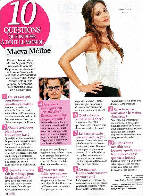 """.13 Juin :  Petite Interview Sympathique de Maeva pour le magazine """"Closer"""" ."""