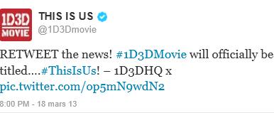 1D3D Movie Le titre du film enfin dévoilé ...