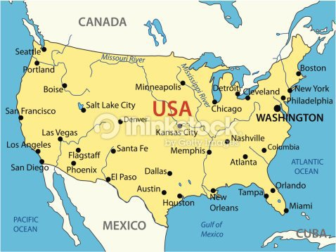 CARTE DES U.S.A.