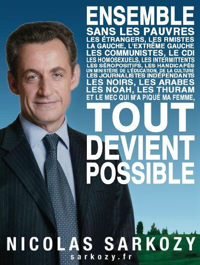 Il parle et personne s'étonne Moi ca me fait mal d'entendre cet homme Sarkozy, ta vision de la France n'est pas la mienne, man Je la connais pas coeur laisse moi déchirer ton programme