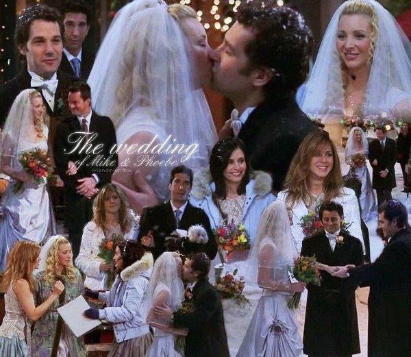 Le mariage de Phoebe & Mike Phoebe : Oh attend, j'ai oublié... et euh... je t'aime... et tu as de beaux yeux. - Mike : Je t'aime aussi.