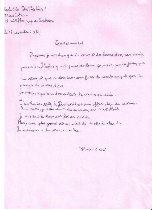 Exemple d'une lettre