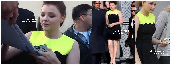 """12/08 - Chloe était invitée à l'émission de """" Jimmy Kimmel Live """" . + Une video de Kick-Ass2 avec Chloe et Christopher Mintz-Plasse . + Chloe était présente à l'émission ''Show de Conan O'Brien '' ."""