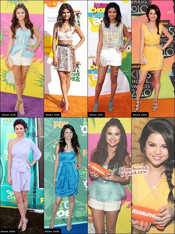 L'évolution de Selena sur les tapis des Kids Choice Awards.