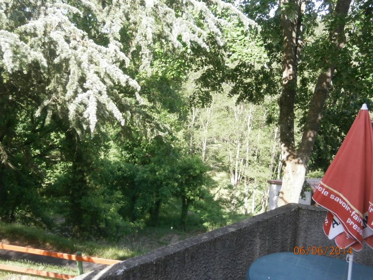La terrasse donne sur un cadre verdoyant de 3 hectares et vue sur l'Allier en contrebas