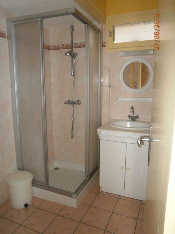 La  salle de bain avec douche et un lavabo - les wc sont au RdC