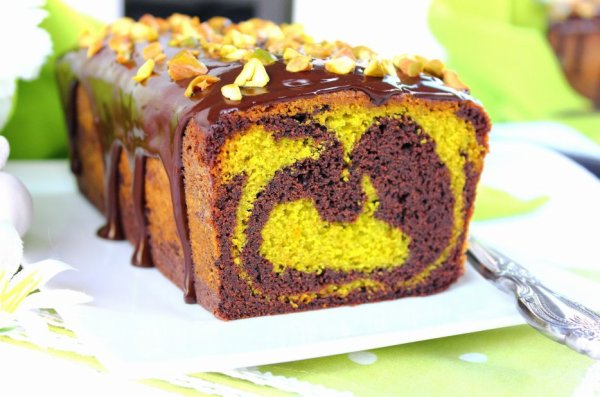 """"""" Cake Marbré Chocolat & Caramel """""""
