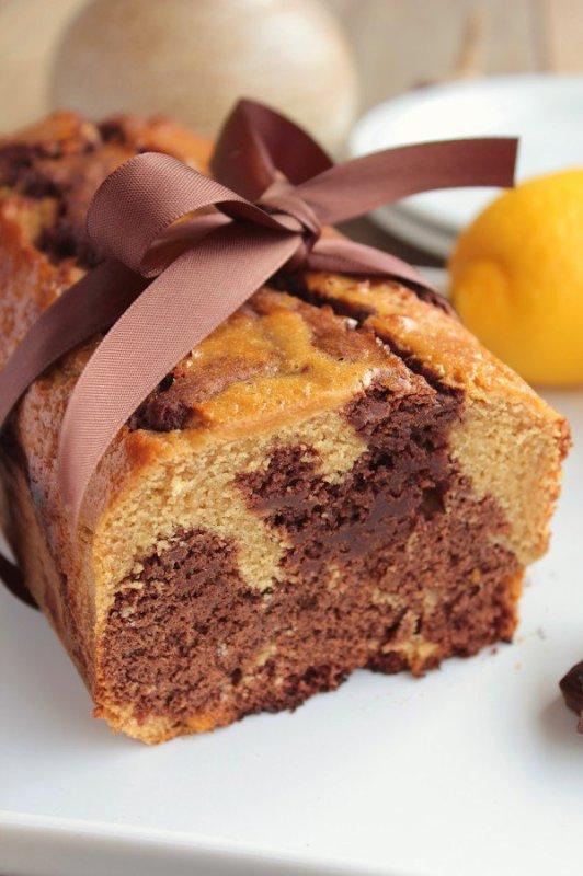 """"""" Cake Marbré Chocolat Noir & Citron """""""