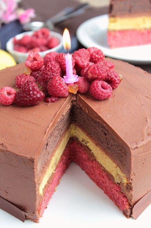 """"""" Layer Cake Chocolat Citron Framboise """""""