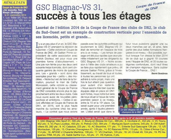 Retour sur la coupe de France de DN2, Articles de La France Cycliste et du Comité Midi-Pyrénées :