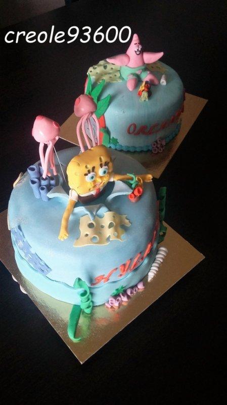 Gâteau bob l'éponge et Patrick