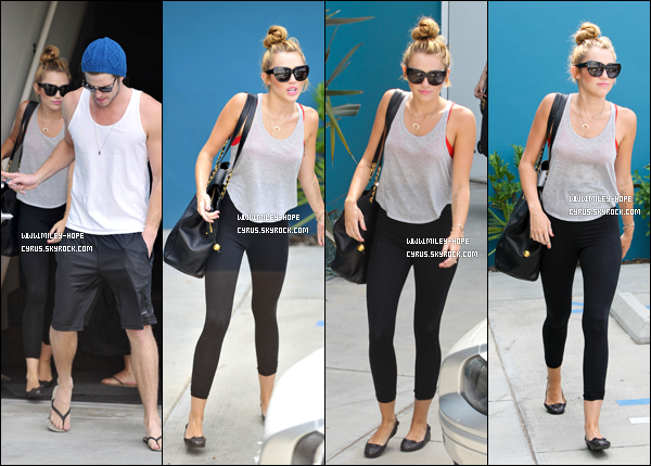 13 07 12 miley quittant son cours de pilates dans west hollywood accompagn e de liam plus. Black Bedroom Furniture Sets. Home Design Ideas