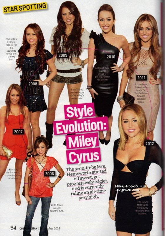 Miley est dans l'édition de  Septembre du magazine Cosmopolitan.