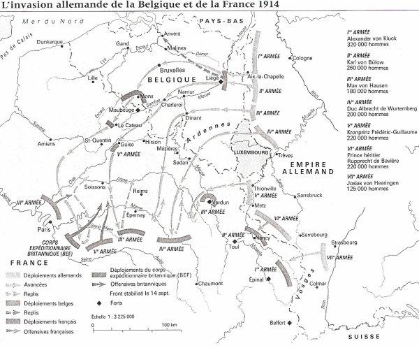 L'invasion allemande de la Belgique et de la France en août 1914
