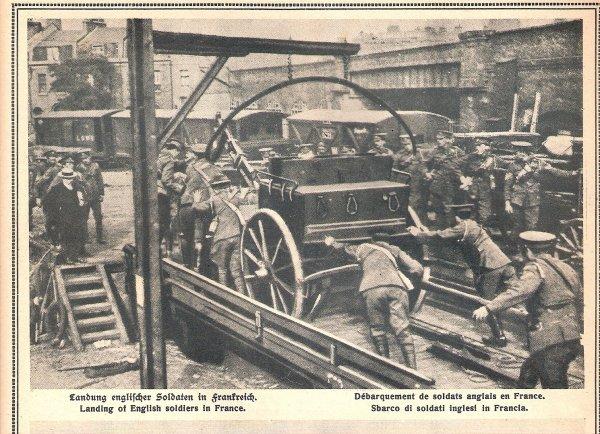 Les troupes britanniques débarquent en France (août 1914)