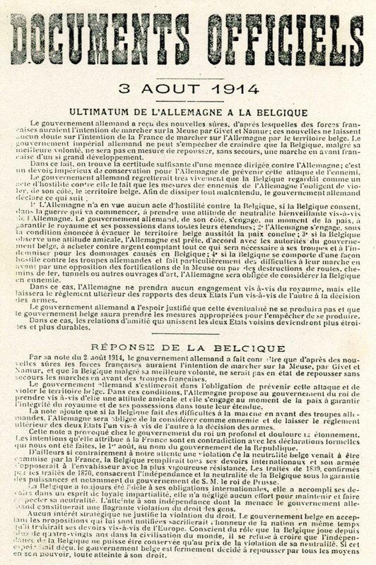 Ultimatum de l'Allemagne à la Belgique.