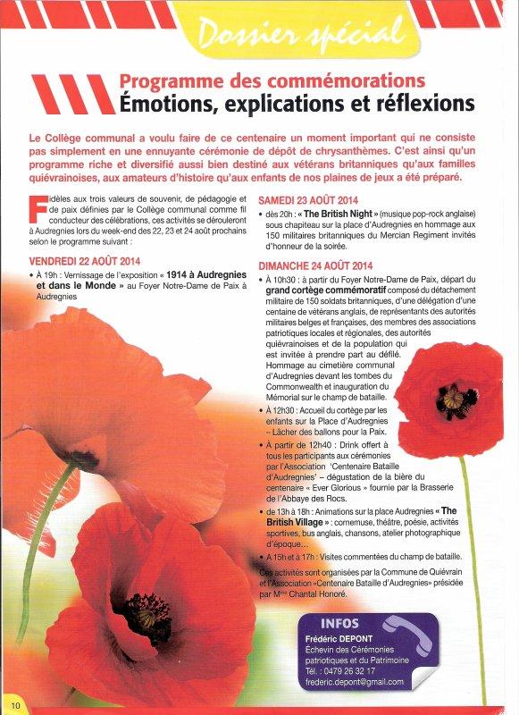 Programme des commémorations