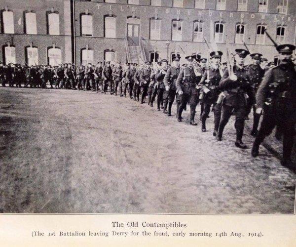 Départ du Ier Cheshire de Derry, le 14 août 1914.