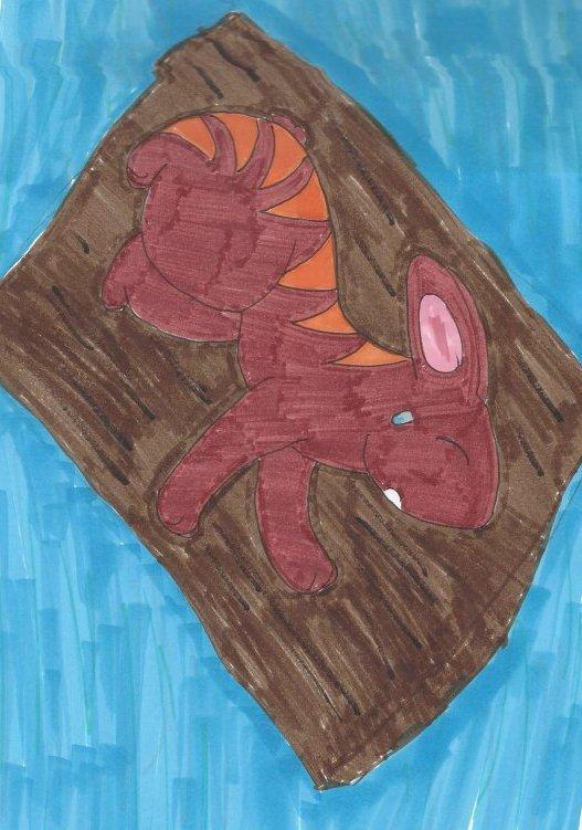 Image de Racine sur son radeau dessinée par MyariLune