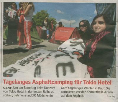 Camping sur l'asphalte pendant des jours pour Tokio Hotel - Genève