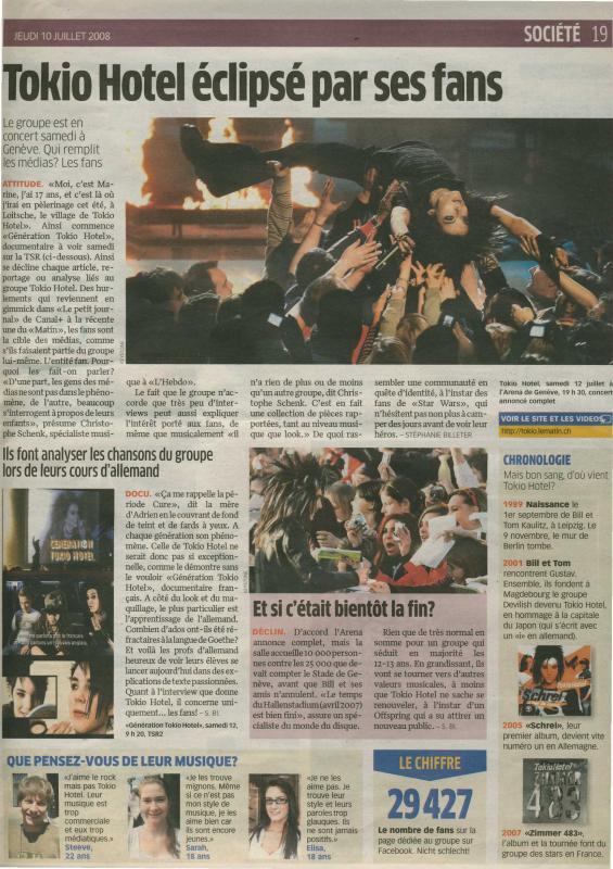 Le Matin Bleu - Tokio Hotel éclipsé par ses fans - Suisse