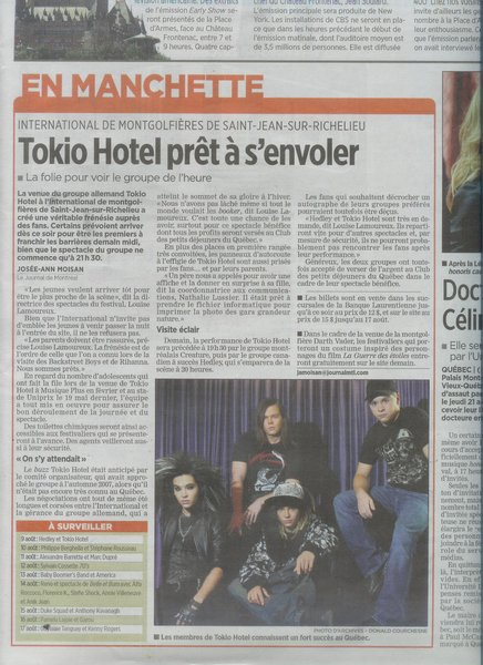 La folie Tokio Hotel - Journal de Montréal :D (Août 2008)