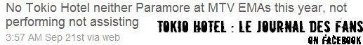 Ni Tokio Hotel, Ni Paramore ne performeront ni n'assisteront aux EMA Cette année.