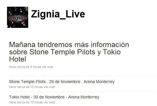 Hier, Zignia_Live a dit que Tokio Hotel vont jouer à l'Arena Monterrey au Mexique le 30 Novembre prochain. Plus d'informations demain