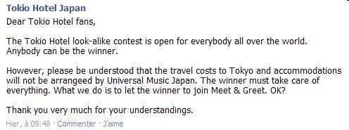 Concours : '' Allez voir Tokio Hotel au Japon ''