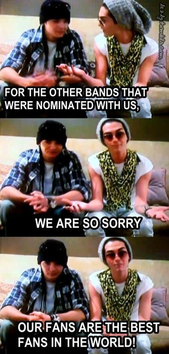 TOKIO HOTEL Gagnent l'award du Best World Stage aux MTV EUROPE MUSIC AWARDS 2010