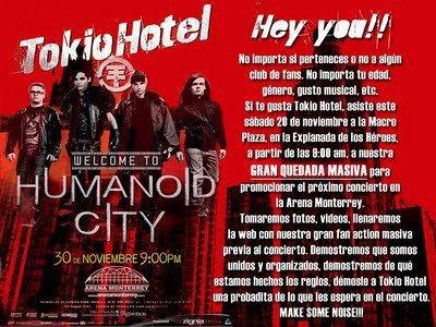 Il y aura un meeting dans le Macro Plaza à partir de 9hrs du matin pour promouvoir le concert du groupe le 30 novembre à l'Arena Monterrey.