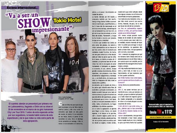 """13/20"" n° 56/Novembre 2010 (Chili) - Tokio Hotel « Ce sera un spectacle spectaculaire »"