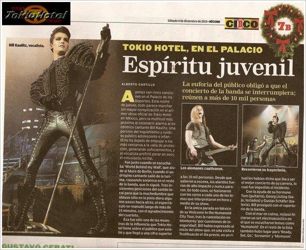 Magazine El Record - (04.12.2010) : TOKIO HOTEL, AU PALACIO - Esprit juvénile