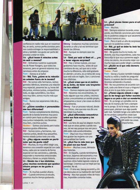 «LunaTeen» n° 52/2010 (Argentine) - Seule avec Tokio Hotel