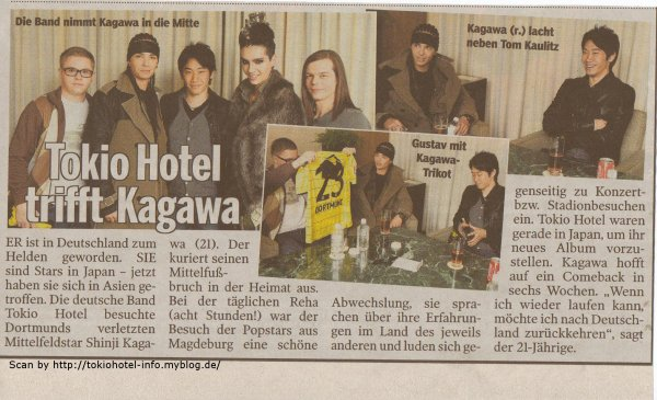Tokio Hotel rencontre Kagawa (Bild.de)