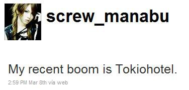Manabu, le guitariste de Screw, admet avoir un coup de coeur pour Tokio Hotel.