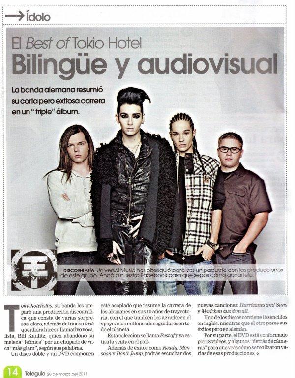"""""""Teleguía"""" du 20.03.11 (Costa Rica) - Le Besf Of de Tokio Hotel, bilingue et audiovisuel"""