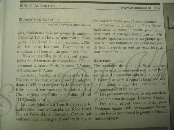 Tokio Hotel Day - Trois-Rivières (Québec) - Hebdo Journal (13/04/11)