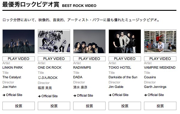Votez pour les «MTV Video Music Aids Japan Awards 2011»