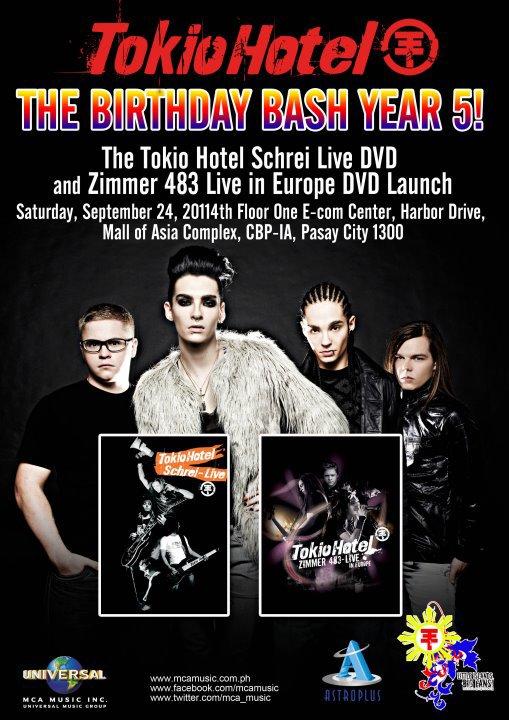 Schrei Live & Zimmer 483 Live sortiront le 24 Septembre 2011 aux Phillipines :D