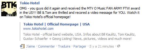 Tokio Hotel ont remporté le «Fan Army» aux MTV OMA ! :D
