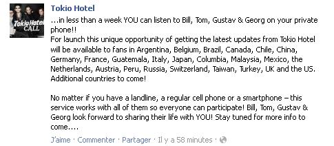 Facebook - Tokio Hotel