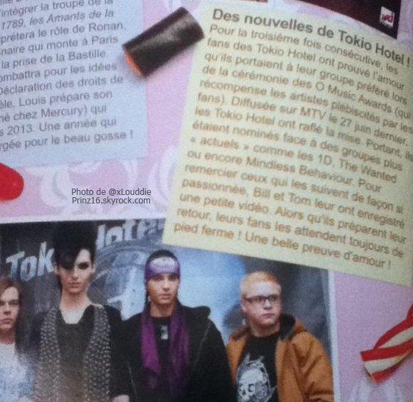 """""""Trinity Star"""" aout/septembre 2012 (France) - Des nouvelles de Tokio Hotel !"""