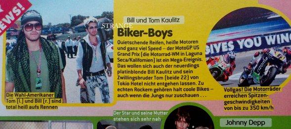 """Bravo"" n° 33/12 (Allemagne) - Bill et Tom Kaulitz, les Biker Boys"